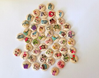 10 Wooden Baby Buttons - #WS00091