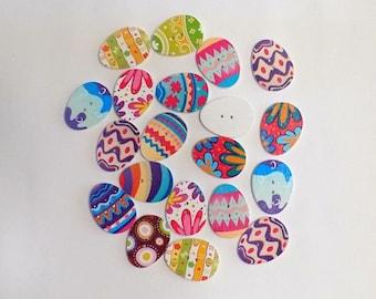 6 Easter Egg Buttons - #E-00013