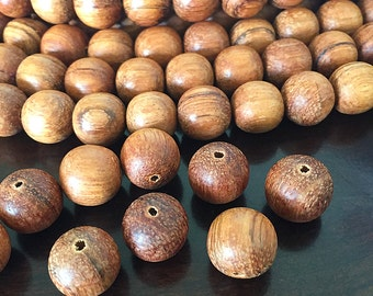 Large Wooden Beads, Natural Bayong Beads, Round Wooden Beads, Brown Wooden Beads, Large Bayong Wood Beads, 15mm - 22 beads (W15-02)