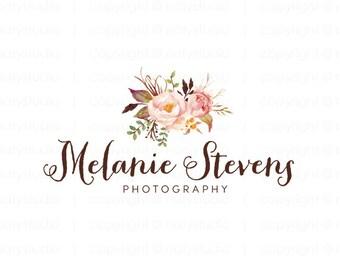 Photography logo watercolor logo flower logo boutique logo floral design logo photographer logo premade logo