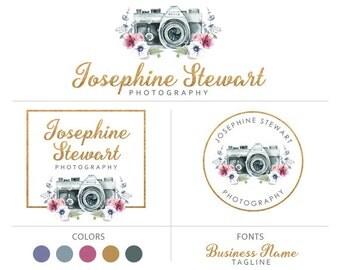 Premade logo package gold logo camera logo flower anemone logo photography logo branding package graphic design