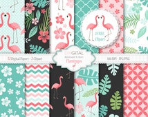 Flamingos digital paper- Tropical digital paper with pink flamingos, leaves, hibiscus - flamingo patterns- Two flamingos clipart included