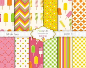 Popsicles Digital Paper Set -Summer Digital Paper- Freeze pop, ice pop, ice lolly, ice block- for scrapbooking, invites, cards, web graphics
