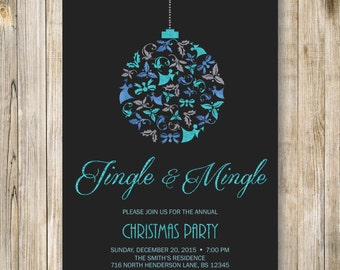 JINGLE and MINGLE HOLIDAY Party Invitation, Blue Glitters Christmas Cocktail Party Invite, Company Ornament Exchange, Diy Digital Printable