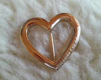 Moschino Designer Scarf Clip Ring Heart Shaped Cheap and Chic 1990s