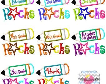 School Rocks Applique Embroidery Design Pre-K, Kindergarten, 1st, 2nd, 3rd, 4th, 5th,6th Grade Bundle Digital INSTANT DOWNLOAD