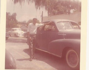 Early Color Photo of Jack Seed, Vintage Photograph, 1960's Snapshot, Classic Car, Vintage Automobile, Man Posing by Old Vehicle, Heart Throb