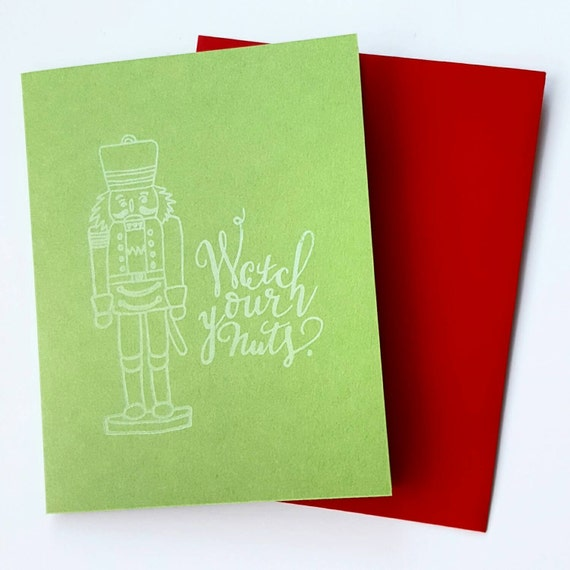 'Watch Your Nuts' Christmas card from DC based lettering shop, SeaHeartCityPress
