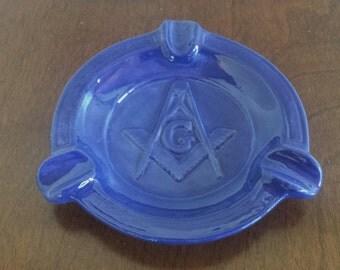 Mid Century Masonic Ashtray blue ceramic Masons 1950's