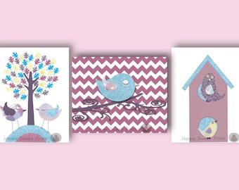 Baby girl canvas,nursery wall art print,birds crib bedding decor,art for baby girls bedroom,tree-birds,birds blue-purple canvas wall art 052