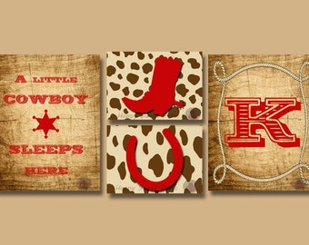 Personalized Rustic Cowboy nursery wall prints,cowboy canvas decors,brown and red cowboy crib bedding,boots quotes,monogram art print 109