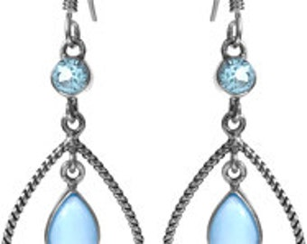 Sterling Silver Blue Chalcedony Sky Blue Topaz Gemstones Dangle Earrings