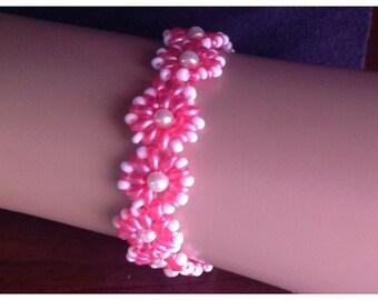 Pretty in pink flower bracelet