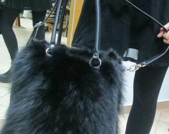 Sale -10%! New!Natural,Real Black Fox FUR BAG!!!