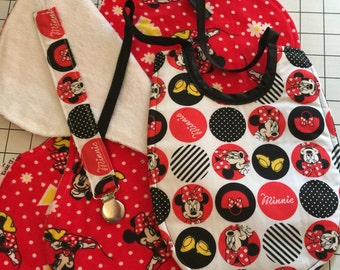 Baby Bib Minnie Mouse Gift Set:  Baby Bib, Burp Cloths and Pacifier Clip