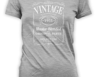 Vintage Whiskey Label Birthday Shirt Born 1951 - Celebrating 65th Birthday, Gifts for Him, Gifts for Grandpa, Gifts for Dad Bourbon CT-1040