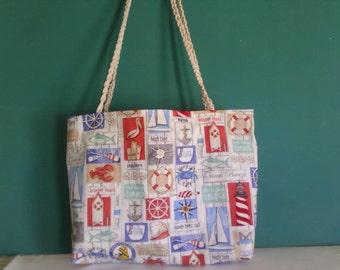 Nautical print tote bag