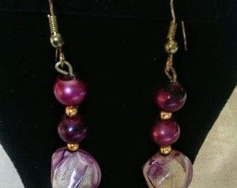 Purple Colored Drop or Dangle Earrings For Pierced Ears