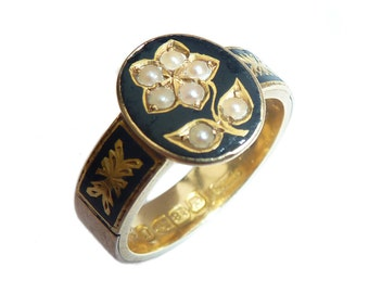 Victorian 18ct Gold & Black Enamel Forget Me Not Mourning Ring