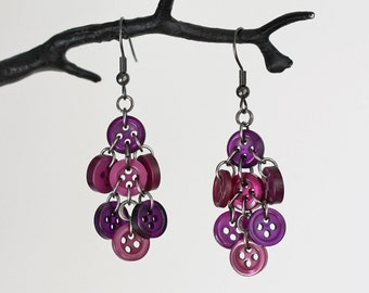 Purple Waterfall Button Earrings
