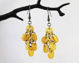 Yellow Waterfall Button Earrings