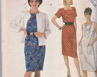 McCalls 2356 Vintage Pattern  Womens Unlined Jacket and Dress Size 20,22,24 UNCUT