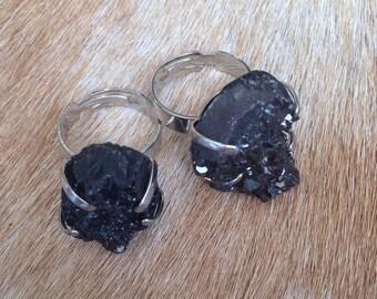 Druzy Agate Titanium Black Rings