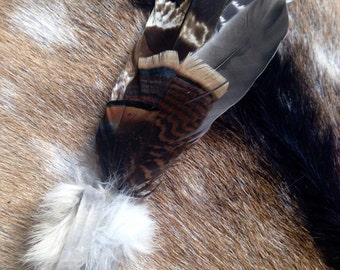 Ceremonial Feather Smudge Fan with Coyote Fur & Crystal Quartz