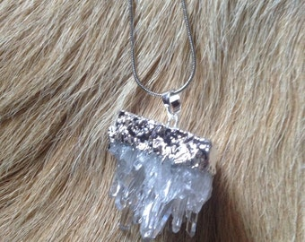 Silver Natural Clear Crystal Quartz Cluster Necklace