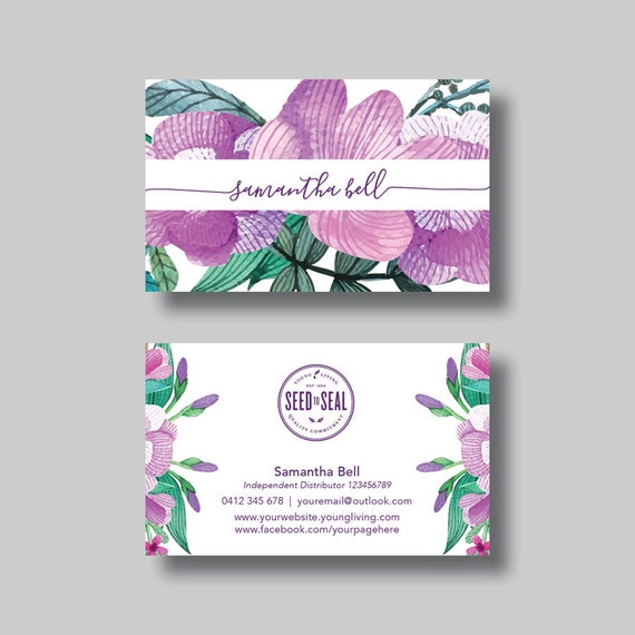 Young Living Essential Oils Business Card Floral 1 0