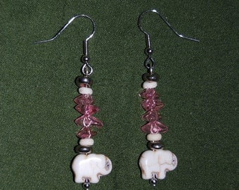 Pink Stone and White Ivory Elephant Earrings
