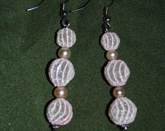 Pink Lace Bead Earrings