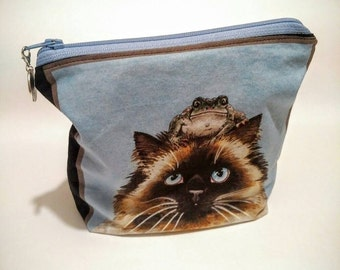Cat and frog makeup bag - kitten zippered pouch - frog themed gift