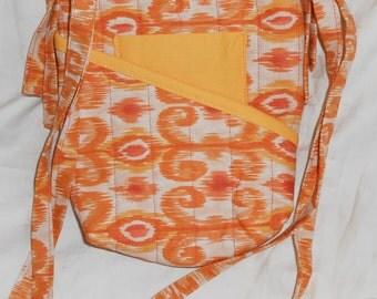 Quilted, cross body orange batik zippered handbag