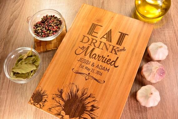 Unique Handmade Wedding Gifts: Custom Cutting Board Sunflower Custom Wedding Gift Wedding