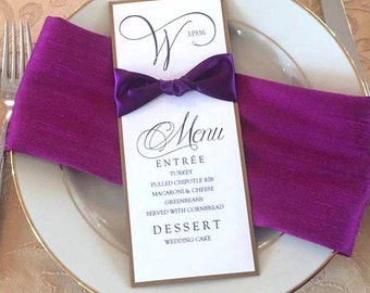 Elegant Menu Card With Beautiful Ribbon and Crystal Embellishments - Colors can be customized