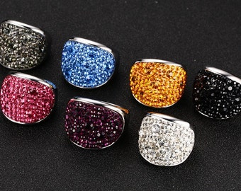 Austrian Crystal Stainless Steel Statement Ring - Choose Your Colour