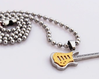 Guitar Pendant - 2 Tone Gold/Silver in Stainless Steel - Customisable