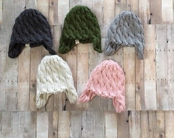 Baby cable knit hat with earflaps, newborn photo prop