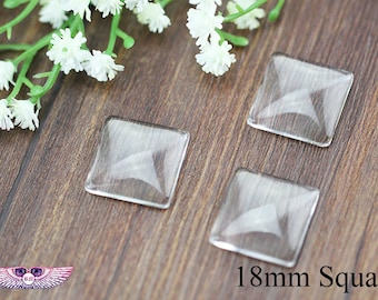 18mm Crystal Clear Glass Cabochon Tiles - Clear Transparent Domed Magnifying Glass Cabochon Cover - Cufflink Glass Inserts