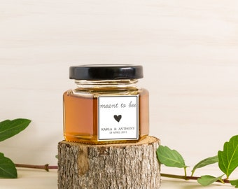 100mL Honey Jar with Custom Sticker Wedding Favour/Bombonniere. Completely Custom Favor. Rustic, all hand made.