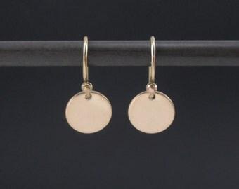 Gold Disc Earrings 14K Gold Filled Small Circle Earrings, Tiny Disc Earrings, Dainty Earrings, Dangle Drop Earrings, Minimalist Earrings