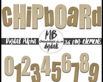 Chipboard Digital Alphabet, Uppercase and Lowercase