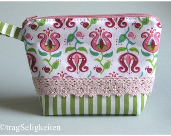 Small padded zipper pouch - cosmetics - bag - ready to ship