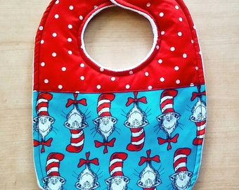 Cat in the Hat Inspired Baby Bib