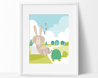 Tortoise and Hare Art Print - Nursery Wall Art - Children's Wall Art - Minimal Nursery