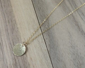 Gold filled hammered circle pendant necklace