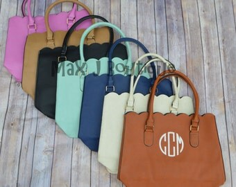 Monogrammed Scalloped Tote - Personalized Handbag - Personalized Purse