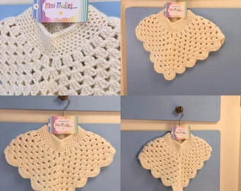 0-12 Months Hand Crocheted Aran Baby Poncho Children's Clothing