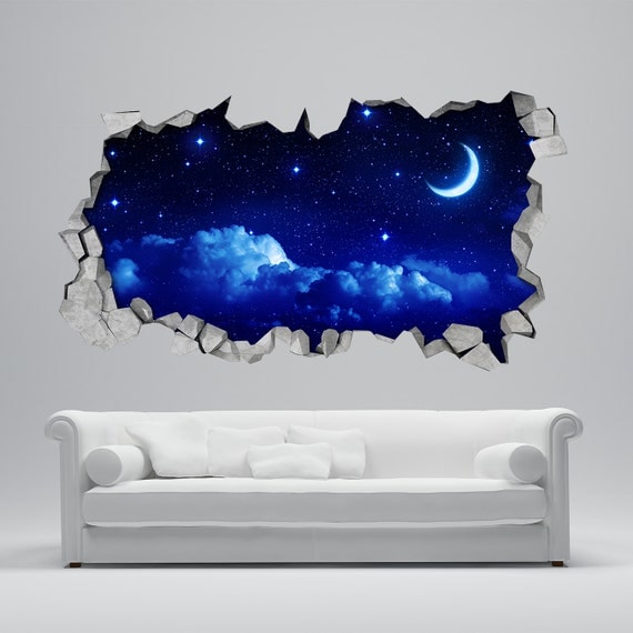 moon wall sticker 3d broken wall decal 3d wallpaper wall. Black Bedroom Furniture Sets. Home Design Ideas